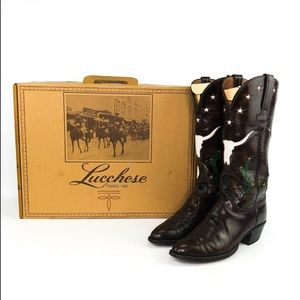 Lucchese Brown Leather Cowboy Boots